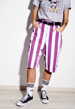Vintage ESPRIT 90s grunge striped long shorts violet boho XL