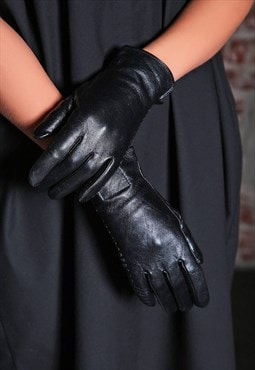 Black Leather Gloves/ Women Gloves