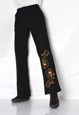 Y2K Black Paisley Grunge Womens Pants