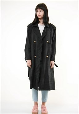 80s Vintage Unknown Trench Long Oversized Coat 398