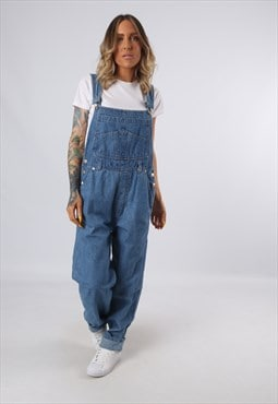 Denim Dungarees Vintage Wide Tapered Leg UK 12 (G3DT)