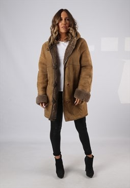 Sheepskin Hooded Suede Leather Shearling Coat UK 14 (KJ2O)