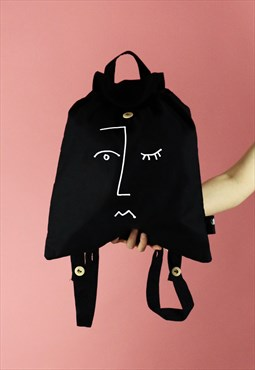 Face Line Drawing Print Cotton Backpack - White on Black