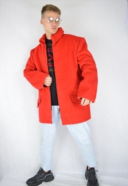 Vintage red classic wool coat