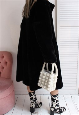 Vintage 80s Long Black Oversized Faux Fur Jacket