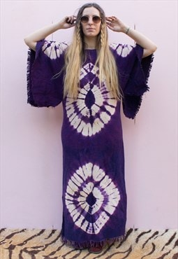 Vintage 70's Purple Tie Dye Fringe Maxi Dress