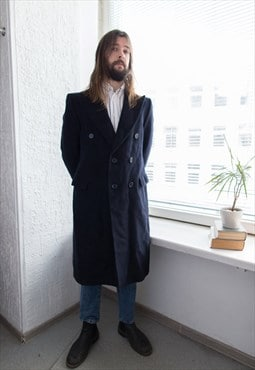 Vintage 60's Navy Wool Double Breasted Coat