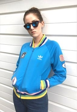 Womens rare Adidas peace light blue patch zip up jacket