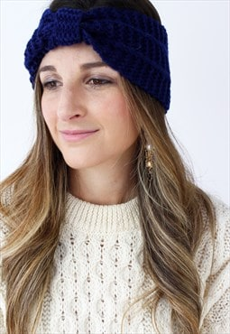 Navy Blue Ribbed Knitted Turban Headband