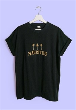 Vintage 90's MAURITIUS Gold Embroidery Black T-shirt