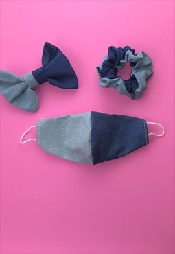 2 tone denim face covering  set with scrunchie or hair bow