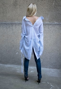 Oversized Shirt/White Top Loose Ties Shirt Buttoned F1615