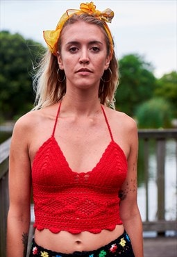 Crochet Bralet in Red