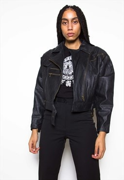 Vintage 90s Motorcycle Crop Leather Jacket ID:1571