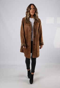 Sheepskin Leather Shearling Coat UK 20 XXXL  (KJ2M)