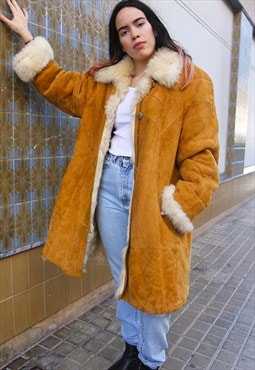 Tan Suede Shearling Faux Fur Lined Winter Coat