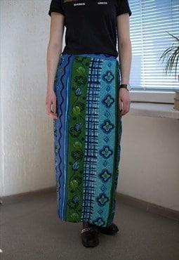 Vintage 90's Maxi Blue Patterned Wrap Skirt