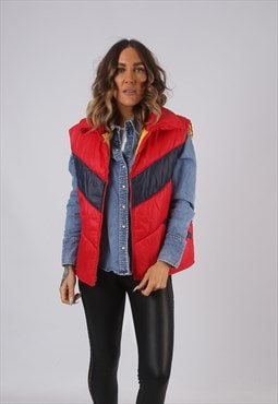 Vintage Gilet Jacket Fitted Red UK 18 (LAJ)