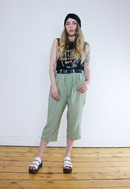 Vintage 90's Khaki & White Checked Cropped Trousers