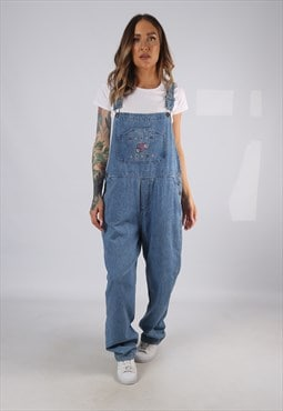 Vintage Denim Dungarees Embroidered Wide Tapered UK 16 (HD1K