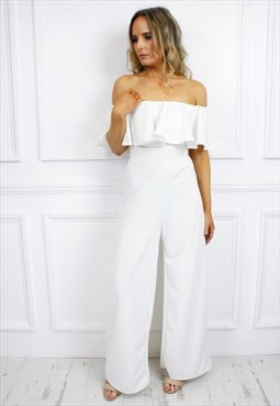 White Bardot Off Shoulder Ruffle Frill Wide Palazzo Jumpsuit
