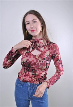 90s pattern tie collar lace sexy red blouse