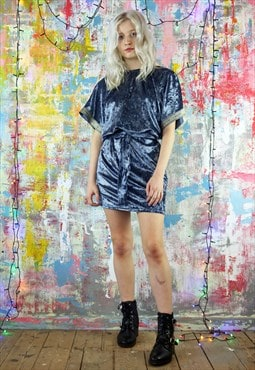 Relax Fit Dress in silver blue velvet with kimono sleeves