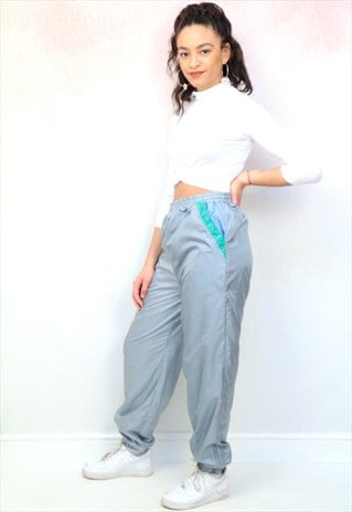 1990S VINTAGE SILVER GREY SHELL TRACK JOGGER BOTTOMS