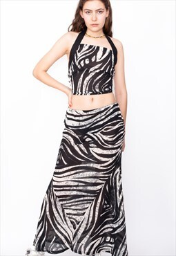Vintage 90s Zebra Chiffon Halter Top & Skirt Co-Ords ID:1696