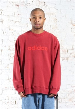 Vintage Adidas Embroidered Spellout Logo Sweatshirt Red