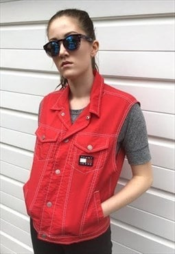 Womens Vintage 90s Tommy Hilfiger gilet red jacket coat
