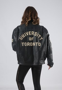 RARE Leather Jacket Bomber Oversized VARSITY UK 16 (CK7J)
