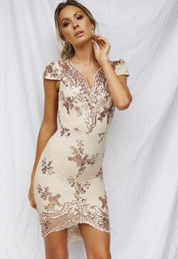 Rose Gold Sequin Embroidered Mini Dress