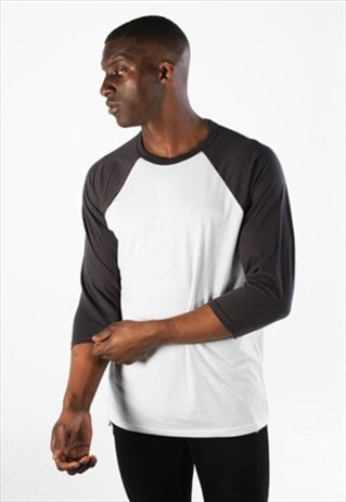 Raglan Contrast 3/4 Long Sleeved T-Shirt - White/Dark Grey
