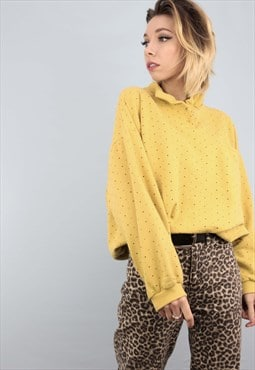 Vintage 90s Oversized Sweater Sweatshirt Yellow Pattern