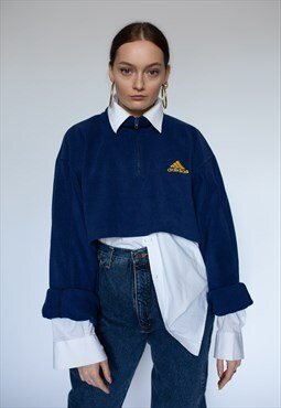 vintage ADIDAS reworked fleece crop top in navy blue
