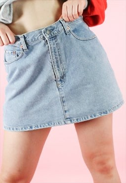 Vintage 90s Levi's Denim Skirt in Light Blue