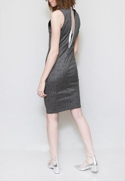 Vintage 1960's Silver Metallic High Neck Spot Mini Dress