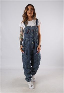 Vintage Denim Dungarees Wide Tapered Leg UK 12 - 14  (9E1J)