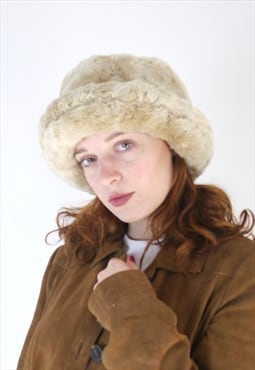 Vintage 90s faux fur blonde beige hat