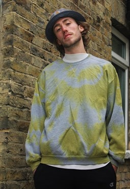 Vintage / 80's / Grey & Yellow Tye-Dye Jumper