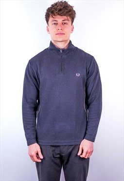 Vintage Fred Perry 1/4 Zip Sweatshirt in Black