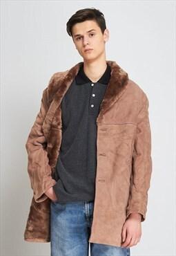 Vintage Brown Suede Shearling Winter Coat