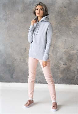 Grey Gray Hoodie Women's Unprinted Cotton Hoody Sweatshirt