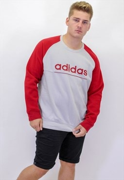Vintage Adidas Sweater In Red and Grey