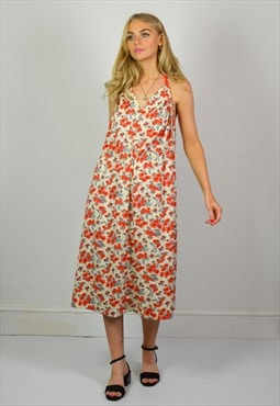 Vintage Red & Cream Floral Halter Midi Summer Dress