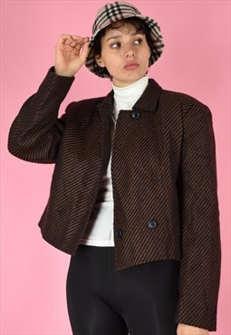 Vintage 90s Blazer Brown Diagonal Stripes With Three Buttons
