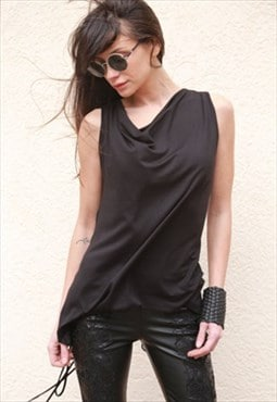 Black Top Loose Blouse Oversized Sleeveless Blouse F1572
