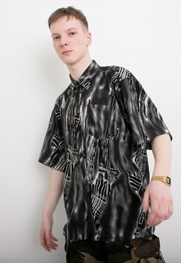 Vintage Shirt Button Up Short Sleeved Abstract Print Y2K