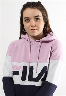 Vintage Fila Hoodie in Pink w/ Spell Out Logo